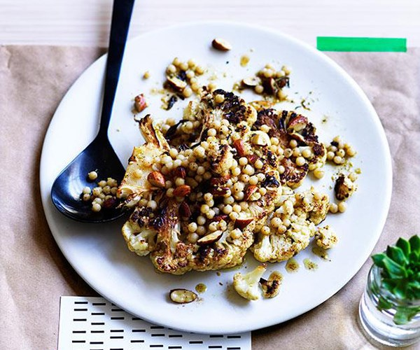 **[Roast cauliflower with almonds, Israeli couscous and za'atar](https://www.gourmettraveller.com.au/recipes/chefs-recipes/roast-cauliflower-with-almonds-israeli-couscous-and-zaatar-8012)**