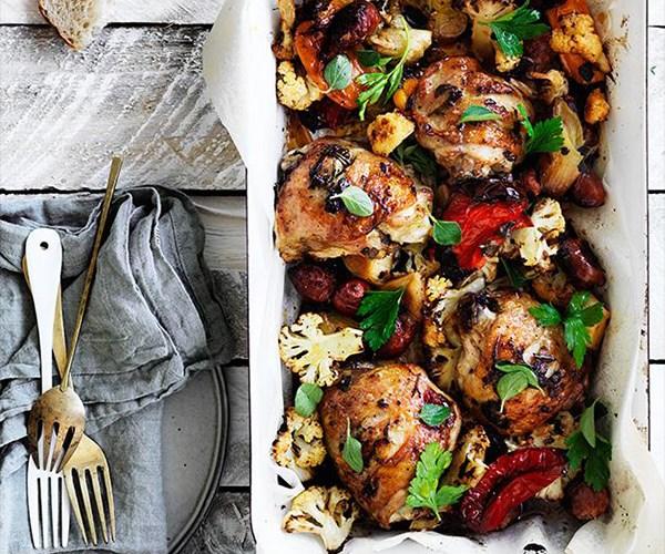 **[Leek, chorizo and cauliflower bake](https://www.gourmettraveller.com.au/recipes/fast-recipes/leek-chorizo-cauliflower-and-chicken-bake-13805)**