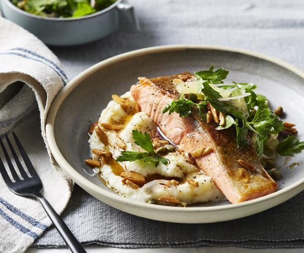 **[Pan-fried ocean trout with cauliflower, almonds and brown butter](https://www.gourmettraveller.com.au/recipes/fast-recipes/pan-fried-ocean-trout-with-cauliflower-almonds-and-brown-butter-15929)**