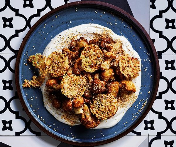 **[Fried cauliflower with parmesan wafers and tahini yoghurt](https://www.gourmettraveller.com.au/recipes/browse-all/fried-cauliflower-with-parmesan-wafers-and-tahini-yoghurt-16010)**