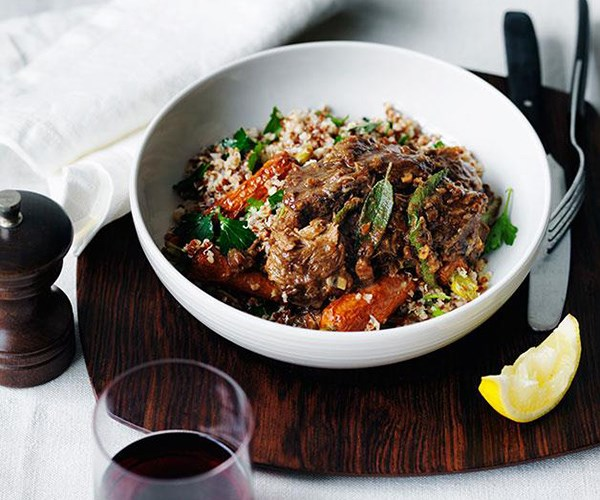 "**[Braised lamb with roast carrot and mixed grain salad](https://www.gourmettraveller.com.au/recipes/chefs-recipes/braised-lamb-with-roast-carrot-and-mixed-grains-9135|target=""_blank"")**"