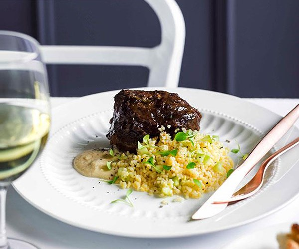 "**[Braised beef cheek, burghul salad, and bread and anchovy sauce](https://www.gourmettraveller.com.au/recipes/chefs-recipes/braised-beef-cheek-burghul-salad-and-bread-and-anchovy-sauce-9079|target=""_blank"")**"