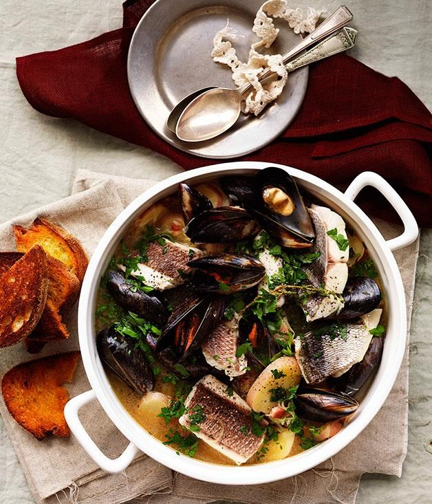 "**[Cotriade (fish stew)](https://www.gourmettraveller.com.au/recipes/browse-all/cotriade-11014|target=""_blank"")**"