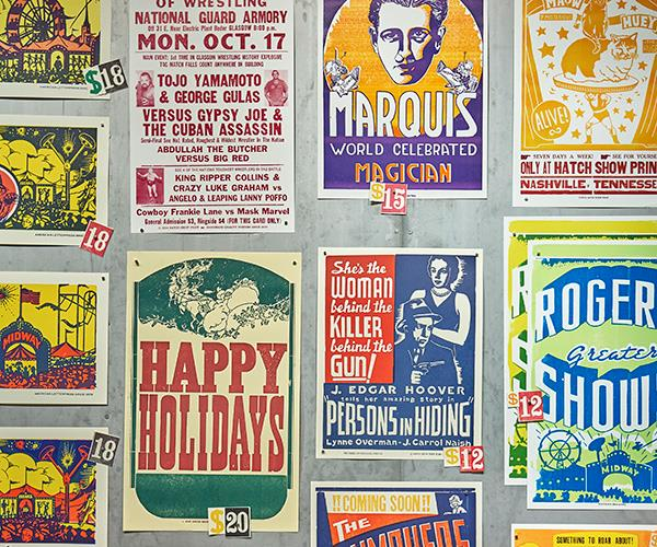 Concert posters in the Hatch Show Print gift shop