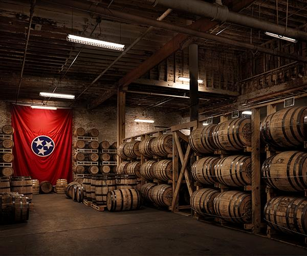 The barrel room at Nelson's Green Brier Distillery