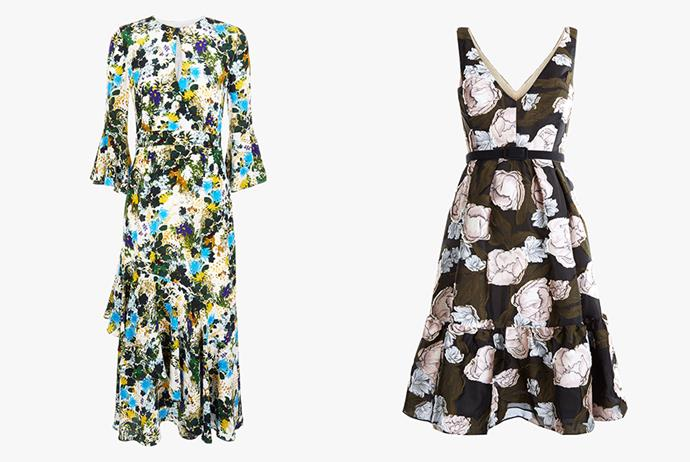 "Erdem dress, $1995; Erdem dress, $2535 both at [Harrolds](https://www.harrolds.com.au/brands/erdem/erdem/|target=""_blank""
