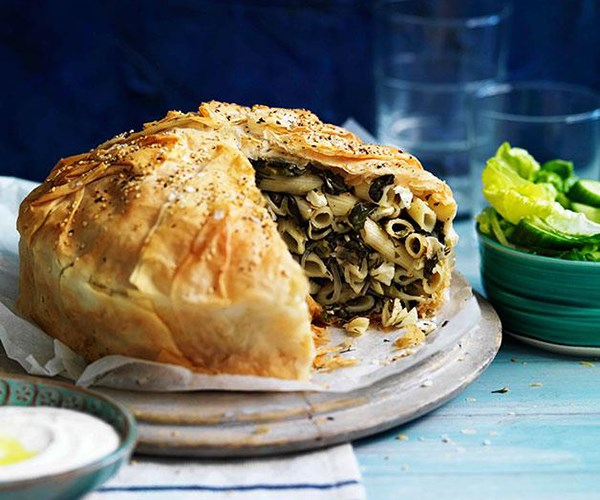 """**[Country-style feta and pasta fillo pie](https://www.gourmettraveller.com.au/recipes/browse-all/country-style-feta-and-pasta-fillo-pie-10961