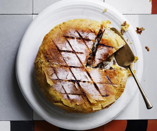 """**[Duck pie with pomegranate and walnuts](https://www.gourmettraveller.com.au/recipes/browse-all/duck-pie-with-pomegranate-and-walnuts-16268