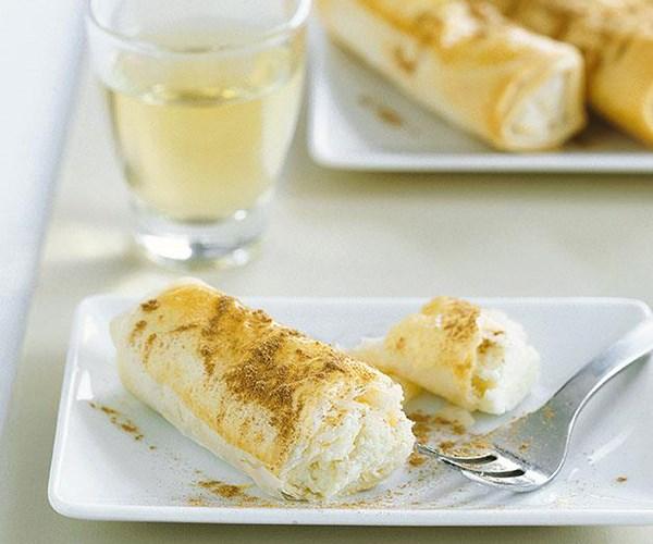 "[**Flogeres (Sweet cheese fillo rolls)**](https://www.gourmettraveller.com.au/recipes/fast-recipes/flogeres-sweet-cheese-filo-rolls-9396|target=""_blank"")"