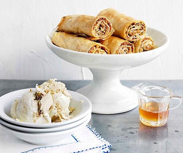 "**[Baklava fingers with honey syrup and halva ice-cream](https://www.gourmettraveller.com.au/recipes/browse-all/baklava-fingers-with-honey-syrup-and-halva-ice-cream-10833|target=""_blank"")**"