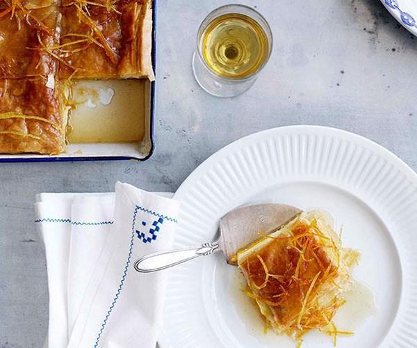 "**[Orange and lemon galaktoboureko](https://www.gourmettraveller.com.au/recipes/browse-all/orange-and-lemon-galaktoboureko-10843|target=""_blank"")**"