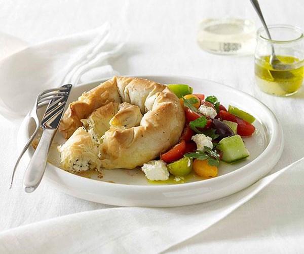 "**[Haloumi, feta and mint boureki with Greek salad](https://www.gourmettraveller.com.au/recipes/fast-recipes/haloumi-feta-and-mint-boureki-with-greek-salad-13190|target=""_blank"")**"