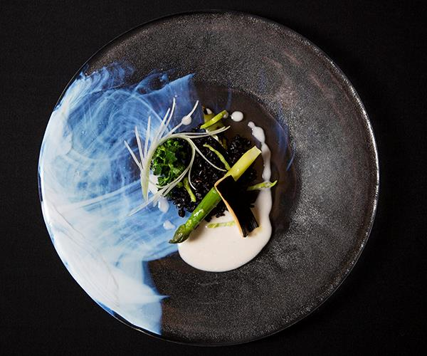 Black rice with green vegetables and Brazil nut milk at DOM, Alex Atala's São Paulo restaurant.