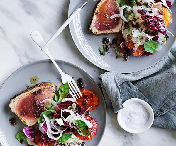 "[**Grilled tuna with blood orange, fennel and black olive dressing**](https://www.gourmettraveller.com.au/recipes/fast-recipes/grilled-tuna-with-blood-orange-fennel-and-black-olive-dressing-13853|target=""_blank"")"