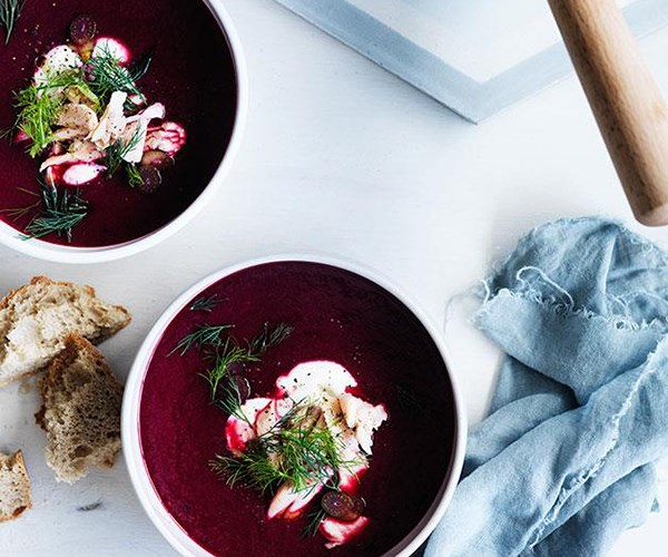 "**[Beetroot soup with smoked trout and dill](https://www.gourmettraveller.com.au/recipes/fast-recipes/beetroot-soup-with-smoked-trout-and-dill-13584|target=""_blank"")**"
