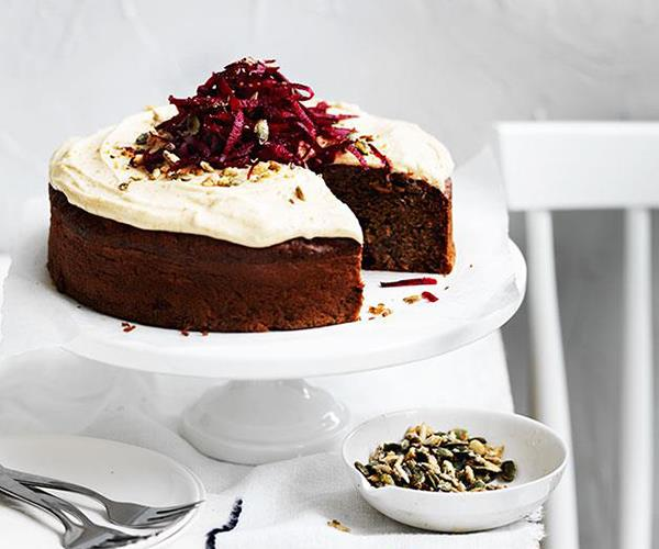 "**[Spiced beetroot seed cake with rapadura frosting](https://www.gourmettraveller.com.au/recipes/browse-all/spiced-beetroot-seed-cake-with-rapadura-frosting-12032|target=""_blank"")**"