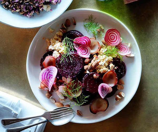 "**[Roast beetroot with shankleesh, onion, almonds and dill](https://www.gourmettraveller.com.au/recipes/chefs-recipes/roast-beetroot-with-shankleesh-onion-almonds-and-dill-8290|target=""_blank"")**"