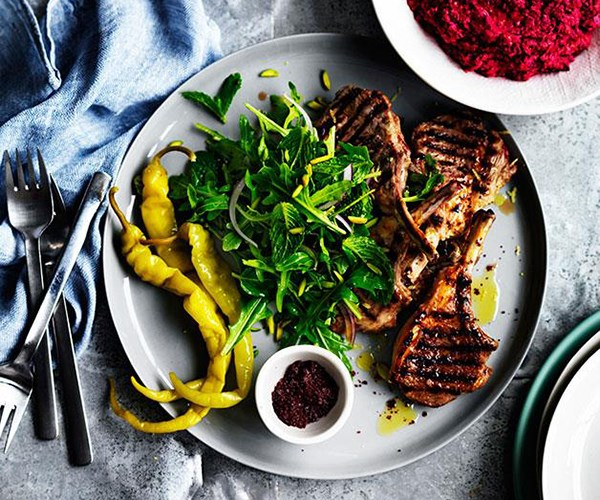 "**[Sumac lamb cutlets with beetroot hummus](https://www.gourmettraveller.com.au/recipes/fast-recipes/sumac-lamb-cutlets-with-beetroot-hummus-13549|target=""_blank"")**"