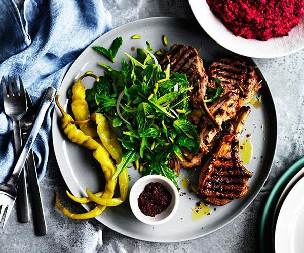 "**[Sumac lamb cutlets with beetroot hummus](https://www.gourmettraveller.com.au/recipes/fast-recipes/sumac-lamb-cutlets-with-beetroot-hummus-13549|target=""_blank"")**"