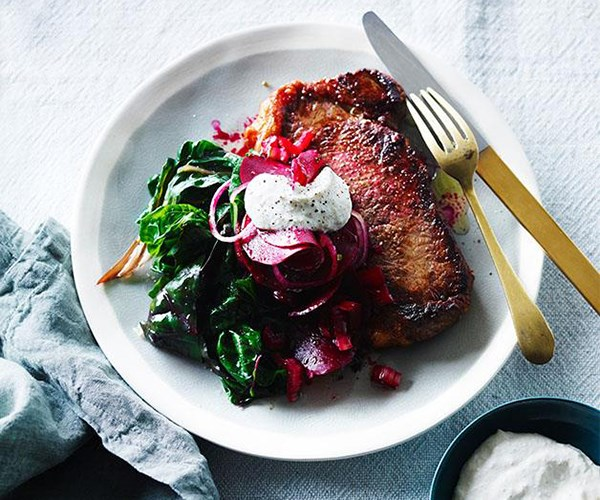 "**[Steak with sweet and sour beetroot and horseradish crème fraiche](https://www.gourmettraveller.com.au/recipes/fast-recipes/steak-with-sweet-and-sour-beetroot-and-horeseradish-creme-fraiche-13833|target=""_blank"")**"