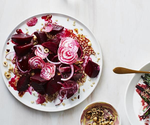 "**[Beetroot salad with barley and hazelnut](https://www.gourmettraveller.com.au/recipes/chefs-recipes/beetroot-salad-with-savoury-granola-8113|target=""_blank"")**"