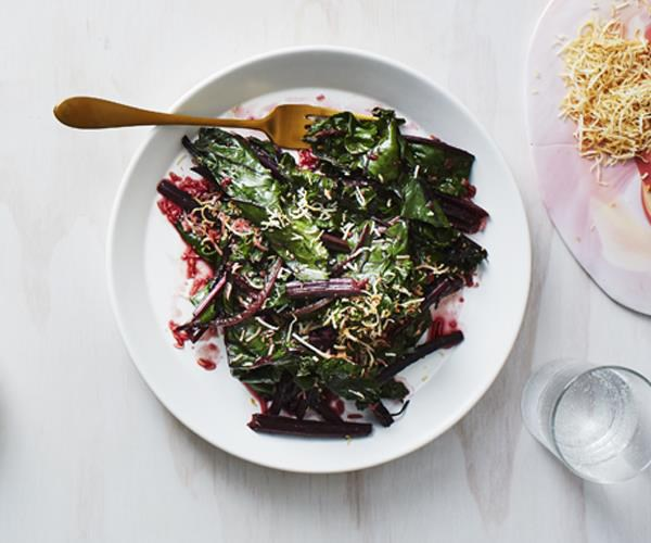"**[Stir-fried beetroot leaves with coconut and spices](https://www.gourmettraveller.com.au/recipes/healthy-recipes/stir-fried-beetroot-leaves-with-coconut-and-spices-16093|target=""_blank"")**"
