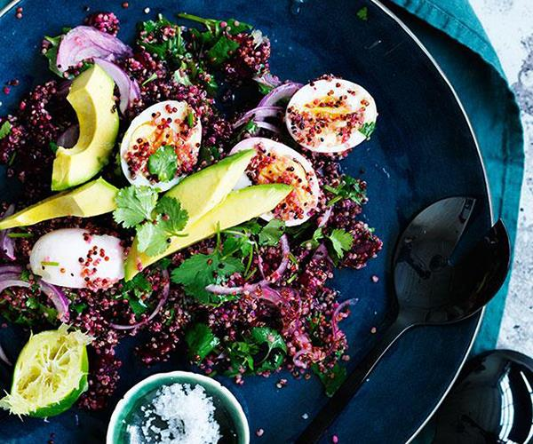 """**[Smashed beetroot, quinoa, egg and avocado salad](https://www.gourmettraveller.com.au/recipes/fast-recipes/smashed-beetroot-quinoa-egg-and-avocado-salad-13739
