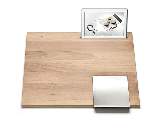 "**Knindustrie Workstation W1:** Meet the modern-day chopping board or kitchen food-prep shelf; Knindustrie's workstation comes equipped with a red-lacquered tablet slot, meaning fewer interruptions to your cooking to check the recipe. Designed by Massimo Castagna and crafted from Canaletto Walnut, it includes a practical knife for chopping ingredients.  <br><br> $414, [spenceandlyda.com.au](https://www.spenceandlyda.com.au/workstation-w-1-55-x-60.html|target=""_blank""