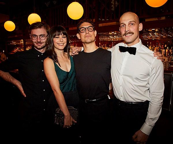 *Hubert sommelier Andy Tyson, artist Allie Webb and Anton and Stefan Forte of Hubert (photo: Lauren Trompp).*