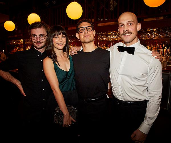 *Hubert sommelier Andy Tyson, artist Allie Webb and Anton and Stefan Forte of Hubert (photo: Lauren Trompp).*