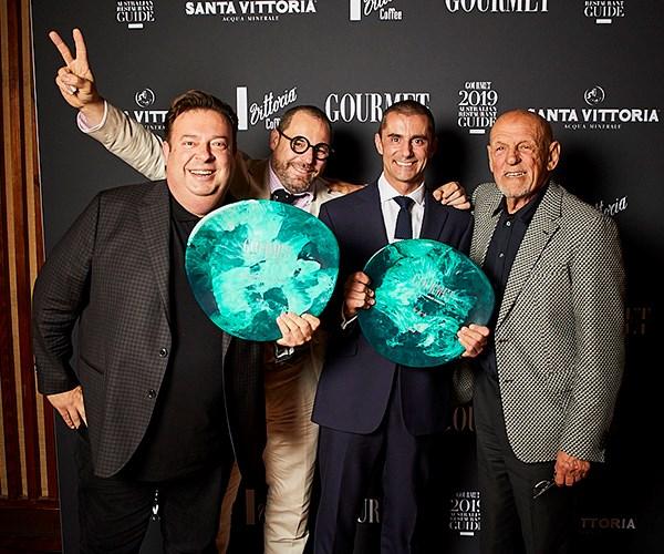 *Restaurant of the Year winner Quay: chef Peter Gilmore, restaurateur John Fink, general manager Jeremy Courmadias and restaurateur Leon Fink (photo: Lauren Trompp).*