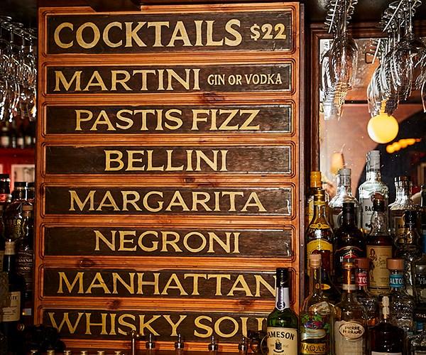 *The cocktail list at Hubert (photo: Lauren Trompp).*