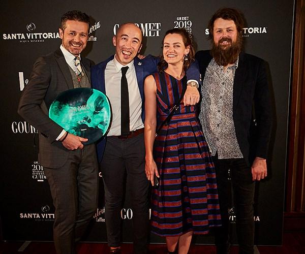 *Jock Zonfrillo of Orana,* GT*'s WA State Editor Max Veenhuyzen, Igni's Jo Ward and Aaron Turner, chef at Igni (photo: Lauren Trompp).*