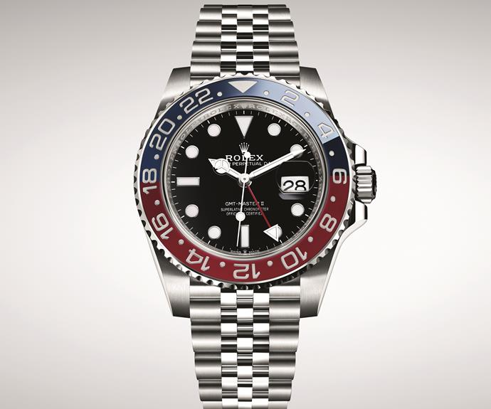 "**ROLEX GMT-MASTER II** <br> The latest GMT-Master model from Rolex combines good looks with powerful function, allowing its wearer to quickly tell the time in two different zones, as well as offering both 12-hour and 24-hour hands. The original GMT was launched 1955 and designed with pilots in mind; we think it's never been more relevant. <br> *$11,750, [rolex.com](https://www.rolex.com/watches/baselworld/new-gmt-master-ii/m126710blro-0001.html|target=""_blank""
