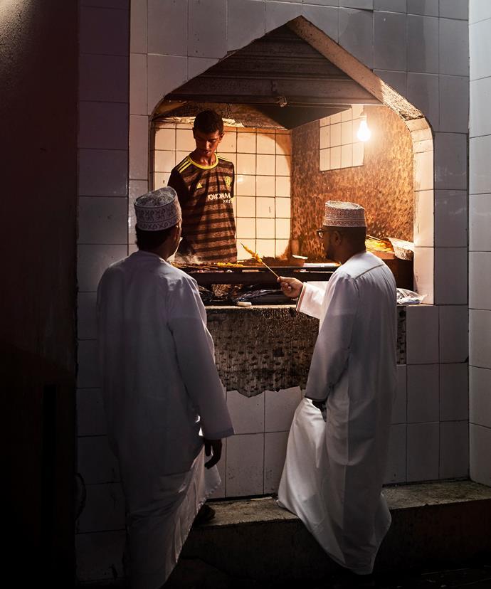 A mishkak vendor near the Seeb souk in Muscat
