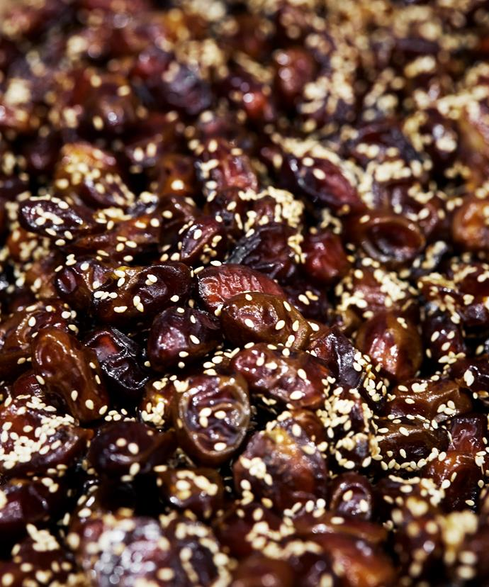 Dates coated in sesame seeds
