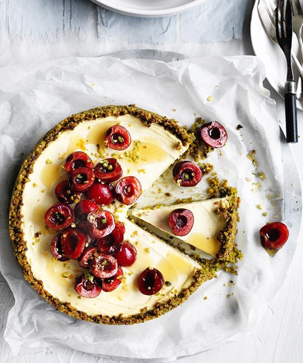 Gluten-free desserts come in the form of a labne and pistachio cheesecake