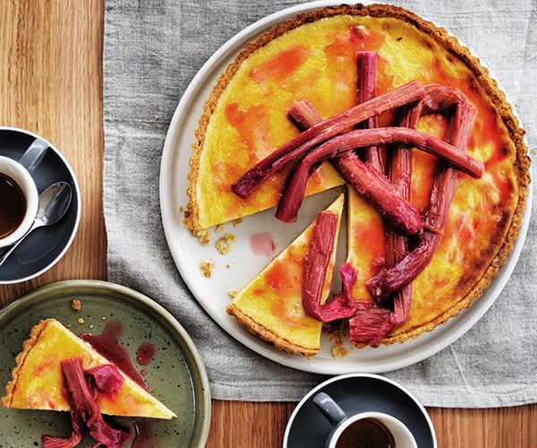 "**[Rhubarb and chamomile tart](https://www.gourmettraveller.com.au/recipes/browse-all/rhubarb-and-chamomile-tart-12867|target=""_blank"")**<br> A classic custard tart provides the canvas for Rodney Dunn and Ali Currey-Voumard to play with flavours like musky chamomile and tart rhubarb in this stunning dessert."