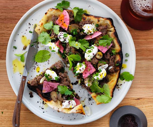 "**[Turkish flatbread with beef and yoghurt](https://www.gourmettraveller.com.au/recipes/browse-all/turkish-flatbread-with-beef-and-yoghurt-12853|target=""_blank"")**<br> The Agrarian Kitchen's take on the Turkish favourite of lahmacun is just the thing to snack on as your guests enjoy their first drinks."