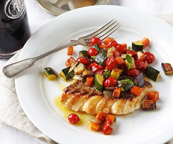 "**[Ratatouille with ruby snapper](http://www.gourmettraveller.com.au/ratatouille-with-ruby-snapper.htm|target=""_blank"")**"