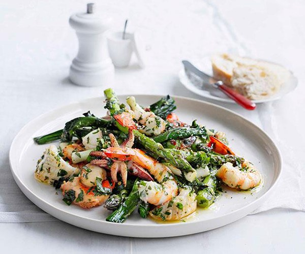 """[**Seafood salad with herbed dressing**](http://www.gourmettraveller.com.au/seafood-salad-with-herb-dressing.htm