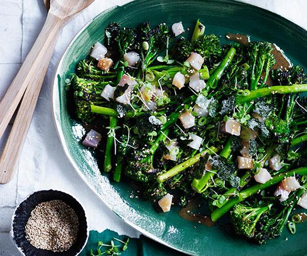 "**[Charred broccolini with kingfish, miso and sesame](https://www.gourmettraveller.com.au/recipes/browse-all/charred-broccolini-with-kingfish-miso-and-sesame-12338|target=""_blank"")**"
