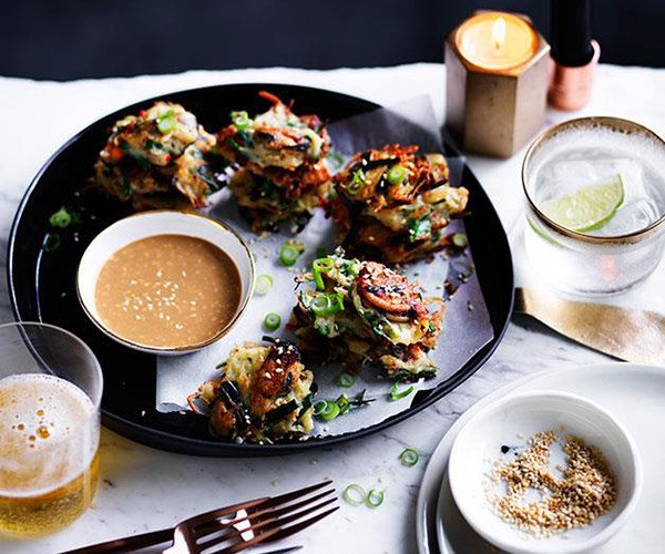 "**[Potato and mussel pancakes with sesame dipping sauce](https://www.gourmettraveller.com.au/recipes/browse-all/potato-and-mussel-pancakes-with-sesame-dipping-sauce-12371|target=""_blank"")**"