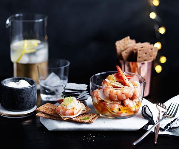 "**[Pickled prawns and fennel with rye crackers](https://www.gourmettraveller.com.au/recipes/browse-all/pickled-prawns-and-fennel-with-rye-crackers-12389|target=""_blank"")**"