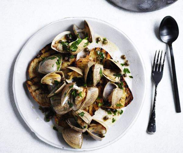 "**[Clams in garlic brown butter](https://www.gourmettraveller.com.au/recipes/browse-all/clams-in-garlic-brown-butter-12856|target=""_blank"")**"