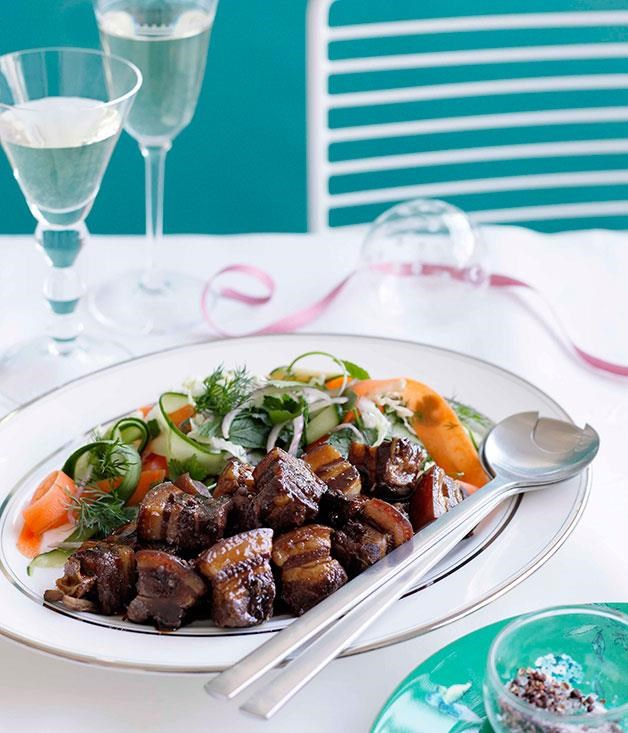 """[Caramelised pork belly with Chinese coleslaw**](https://www.gourmettraveller.com.au/recipes/chefs-recipes/kylie-kwong-caramelised-pork-belly-with-chinese-coleslaw-8916