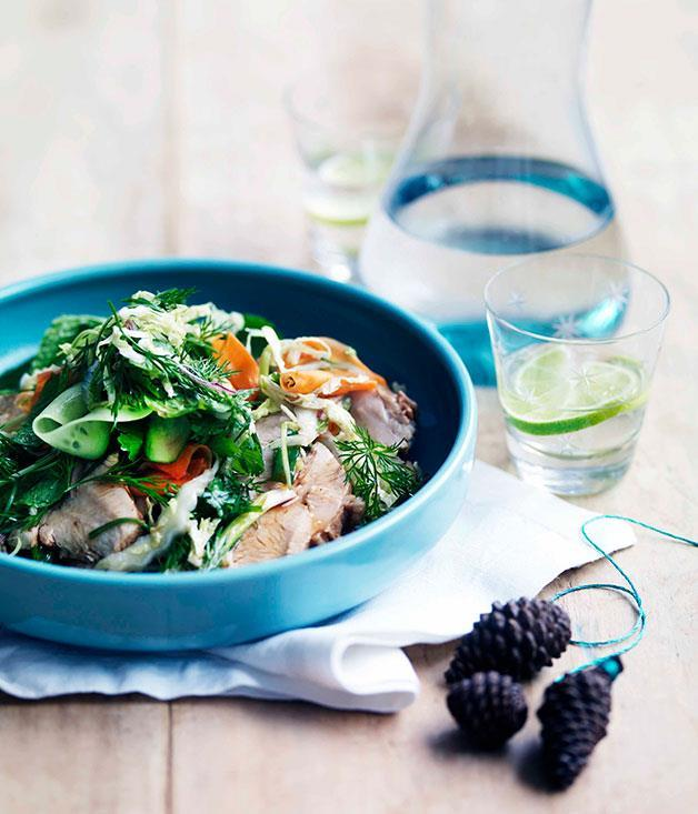 """[**Red-braised free-range turkey breast with Chinese coleslaw**](https://www.gourmettraveller.com.au/recipes/chefs-recipes/kylie-kwong-red-braised-free-range-turkey-breast-with-chinese-coleslaw-7500 target=""""_blank"""")"""