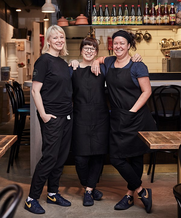 From left: restaurant manager Iris Rees, head chef Jemma Whiteman and owner-chef O Tama Carey.