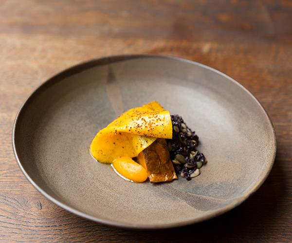 Slow-grilled pumpkin, wattle seed, pine nut and mandarin