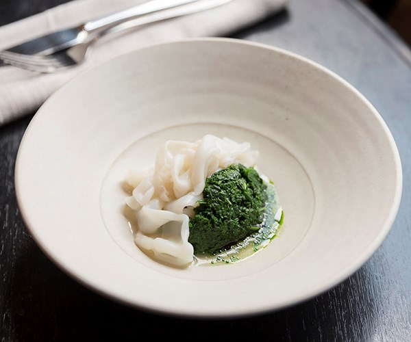 Arrow squid, parsley, clam and pistachio